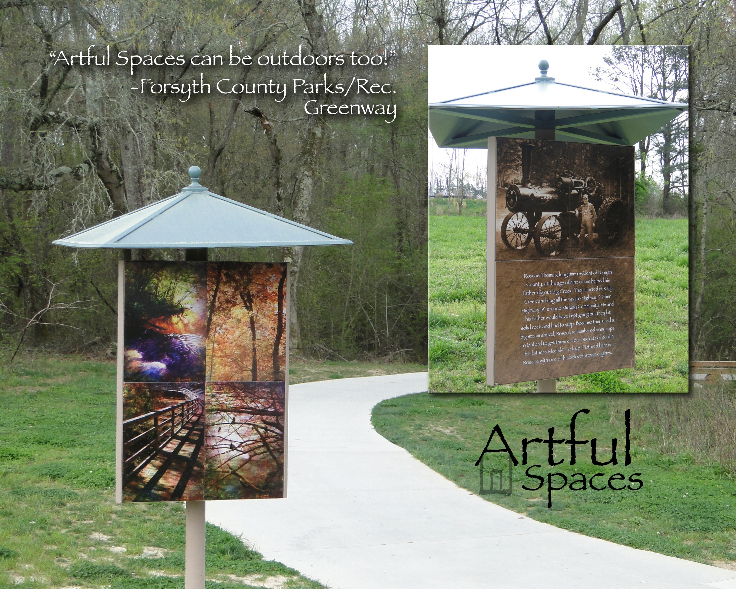 Big Creek Greenway - Our ability to provide art for outdoor spaces helps us reach a range of communities and demographics. The Forsyth County Parks & Recreation Department is one such group. They needed meaningful artwork that could be used on a shelter for the Big Creek Greenway. The triangular structure had space for three separate pieces, allowing Bryan to create works to promote the history of the area and the unique beauty of the surrounding wetlands. In addition to the trail side shelter, Bryan designed an art piece displaying the area's census names from 1900 superimposed over wetland images.