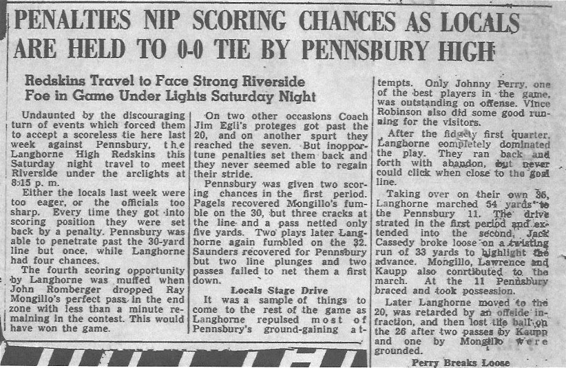 1949 Pennsbury/Langhorne Game - Thanks to Bruce Traney for supplying this article