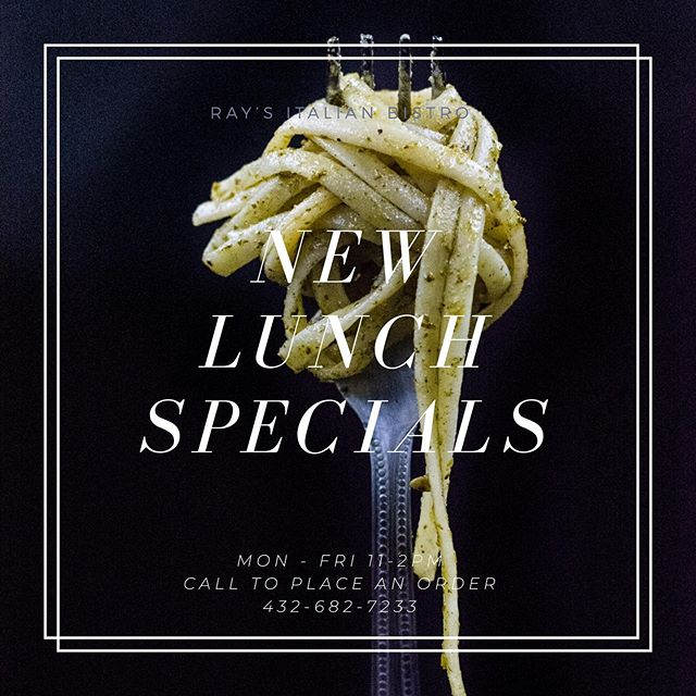 Call to order our new lunch specials. With new menu items from 11-2pm. Mon - Fri