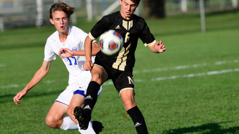 Noblesville's Palmer Ault was one of the leading scorers as a freshman last year for the Millers boys soccer team. Ault is back with Noblesville this season as part of a solid sophomore class. (Kent Graham/File photo)