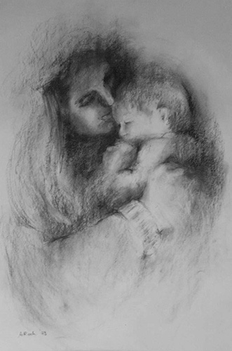 Tenderness, Charcoal, 24 x 19''