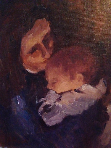 Tender Love, Oil, 10 x 8''