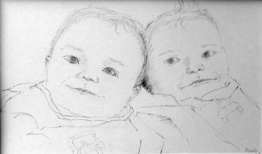Twins, Pencil, 6 x 10''