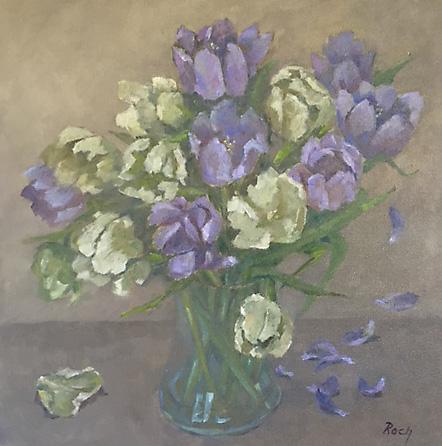 Falling Petals, Oil, 18 x 18''