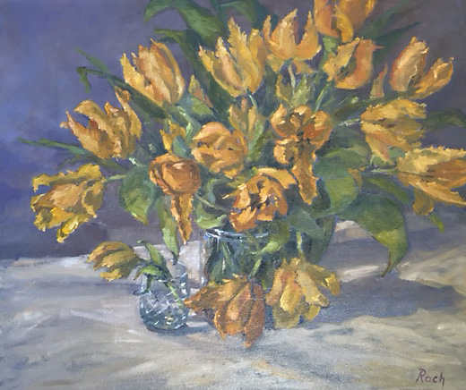 Parrot Tulips, Oil, 24 x 28''