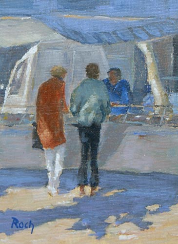 Friday Fish Stall, Oil, 7 x 5''