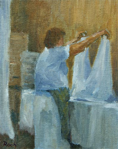 Checking the Double Sheet, Oil, 10x 8''