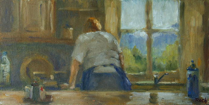 View From The Kitchen, Oil, 6 x 12''