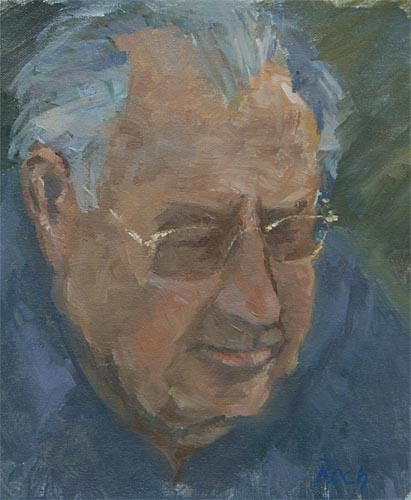 Edward in Gold Specs, Oil 9 x 8''