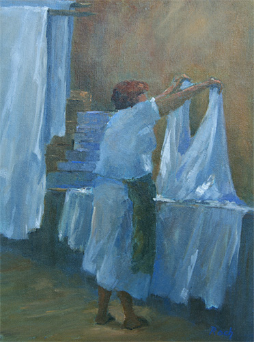 Checking The Double Sheet Study II, Oil, 15 x 11''