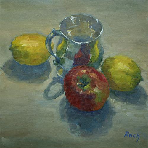 Christening Mug With Lemons, Oil, 10 x 10''