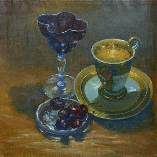 Wine and Cherries, Oil, 11 x 11''