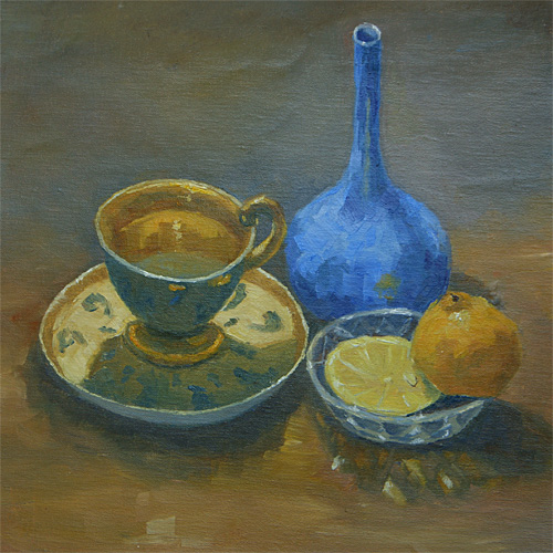 The Russian Tea Cup, Oil, 11 x 11''