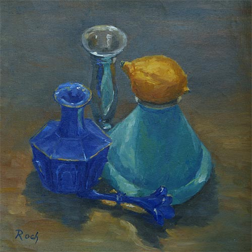 The Blue Perfume Bottle, Oil, 11 x 11''