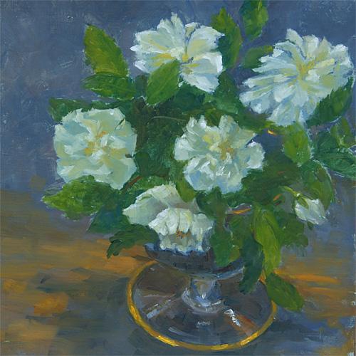 Garden Roses in May, Oil, 11 x 11''