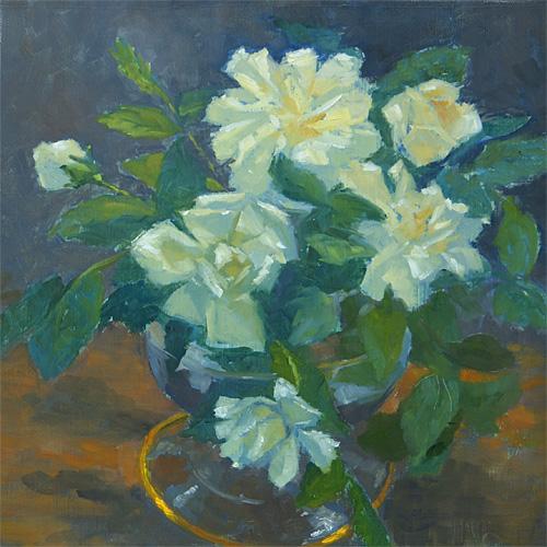 Budding Roses, Oil, 11 x 11''