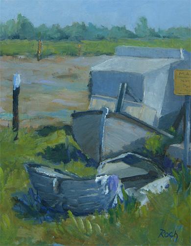 Irish Pete's Boat, Maldon, Oil, 10 x 8''