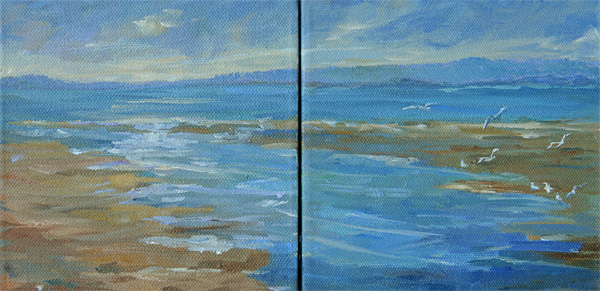 Early Morning Waders, Diptych, Oil, 6 x 12''