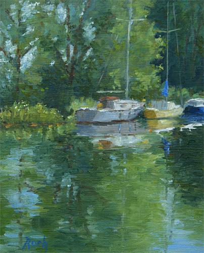 Boats on the Canal, Heybridge Basin, Oil, 12 x 10''