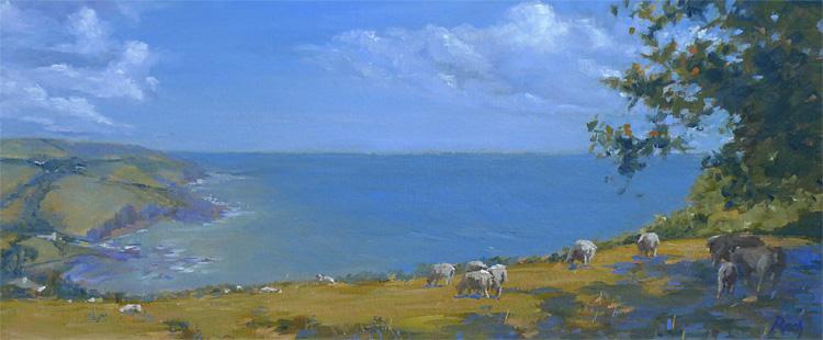 Summer Pastures, Talland Bay, Cornwall, Oil, 10 x 24''