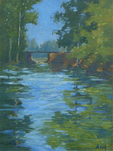 Canoe Crossing, Carennac, Oil, 16 x 12''