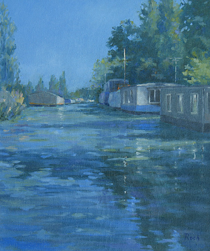 Houseboats on The chichester Canal, Oil, 31 x 18''