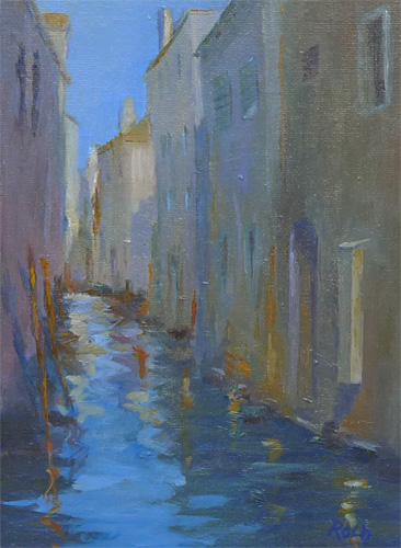 Canal Reflections, Oil, 10 x 7''