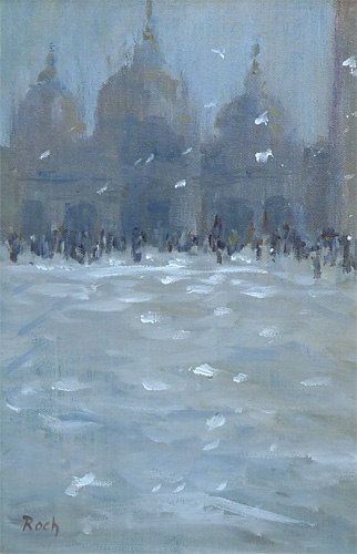 Hurrying Home In The Snow, Oil, 12 x 8''