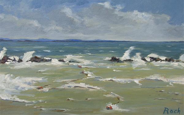 Foaming Sea, Oil, 8 x 13''