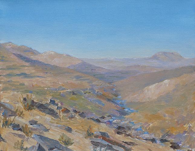 Gentle River Descent, Oil, 10 x 12''