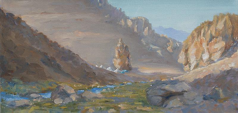 Evening Camp in Sight, Oil, 6 x 12''