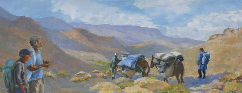 Cook Goes Ahead To Prepare Supper, Oil, 8 x 20''