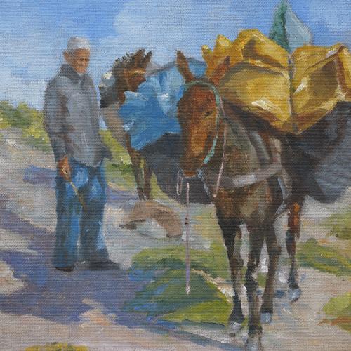 Our Faithful Mules, Oil, 8 x 8''