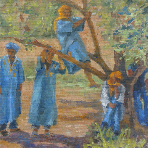 Shy Young Men, Oil, 8 x 8''