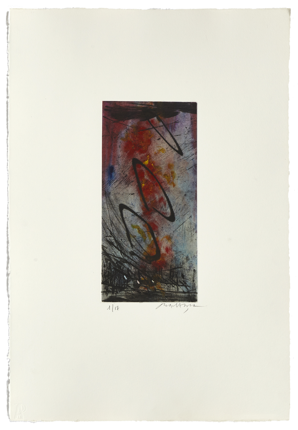 Untitled 5    2000 | 56 x 38 cm | Etching and painted chine | 17 prints | Éditor Atelier-Galerie A. Piroir