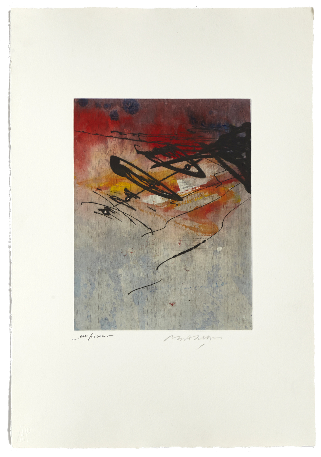 Untitled 1    2000 | 56 x 38 cm | Etching and painted chine | 17 prints | Éditor Atelier-Galerie A. Piroir