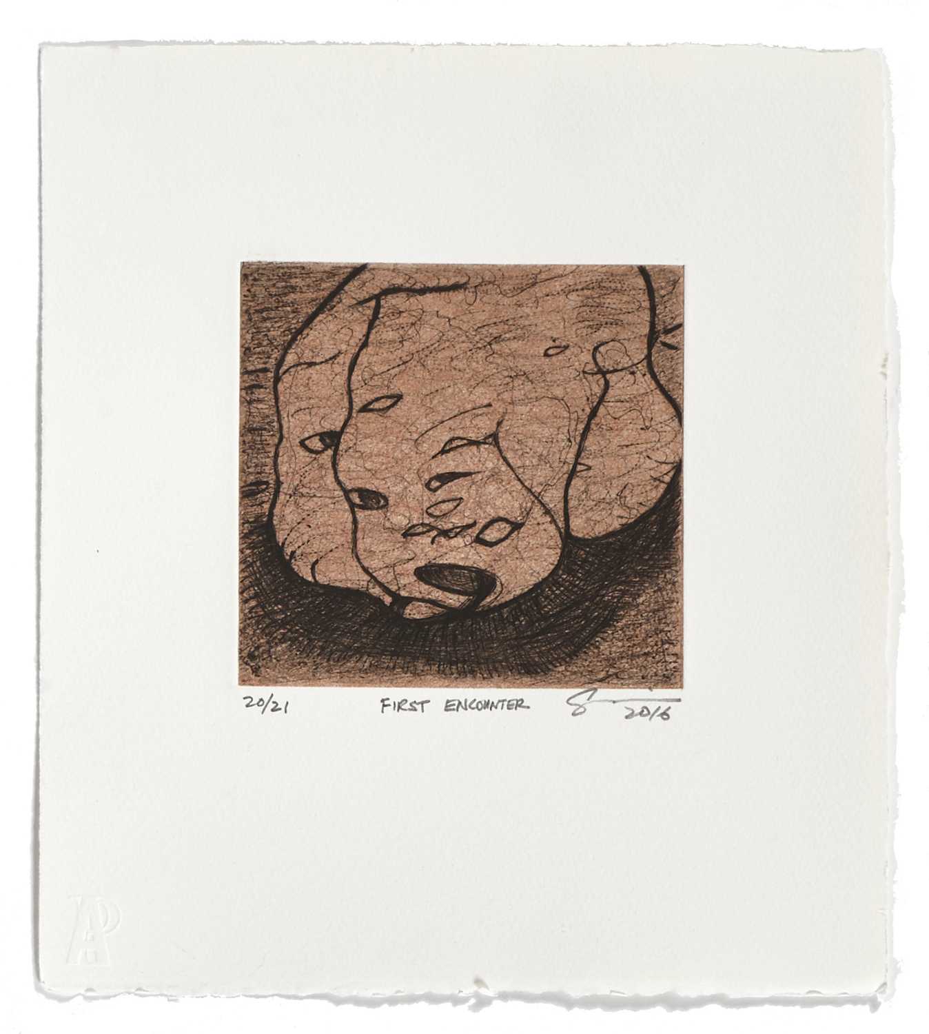 First Encounter    2016 | 32 x 26 cm | Drypoint and chine collé | 21 prints | Editor Atelier-Galerie A. Piroir
