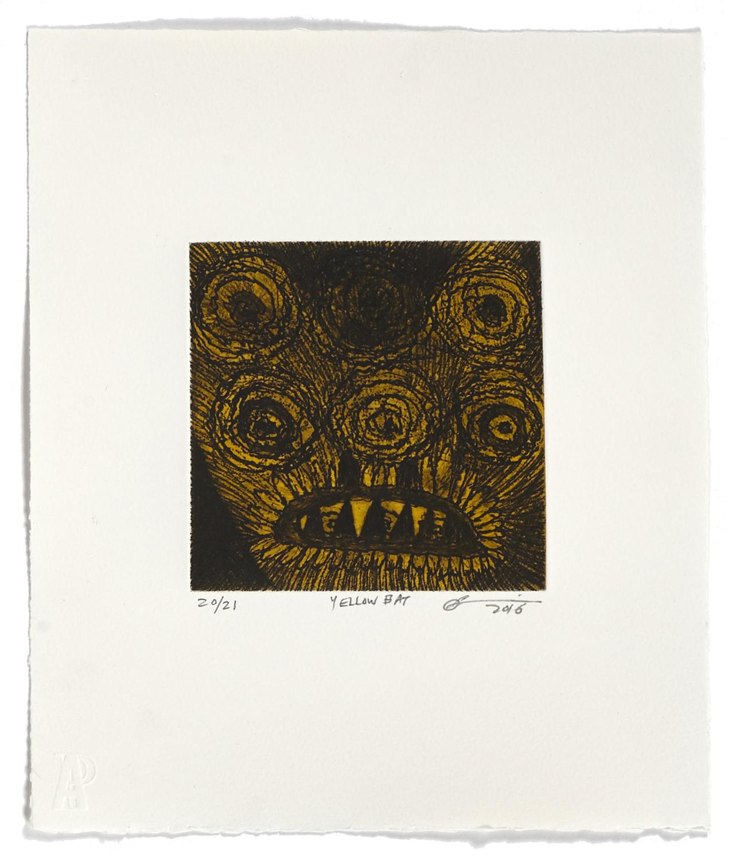 Yellow Bat    2016 | 32 x 26 cm | Eau-forte and chine collé | 21 prints | Editor Atelier-Galerie A. Piroir