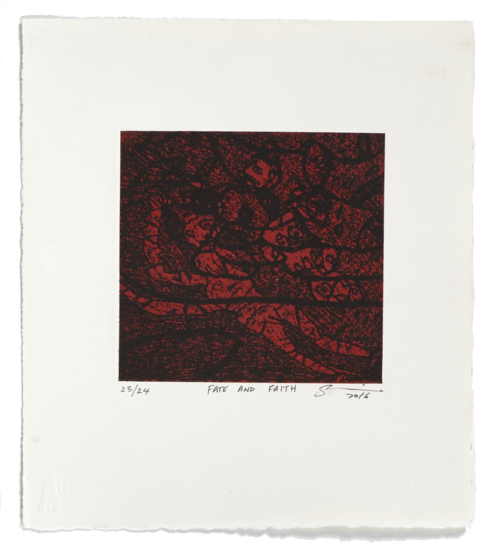 Fate And Faith    2016 | 32 x 26 cm | Eau-forte and chine collé | 21 prints | Editor Atelier-Galerie A. Piroir
