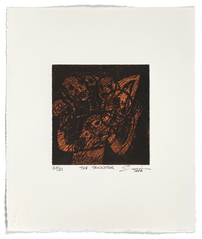 The Trickster    2016 | 32 x 26 cm | Eau-forte and chine collé | 21 prints | Editor Atelier-Galerie A. Piroir
