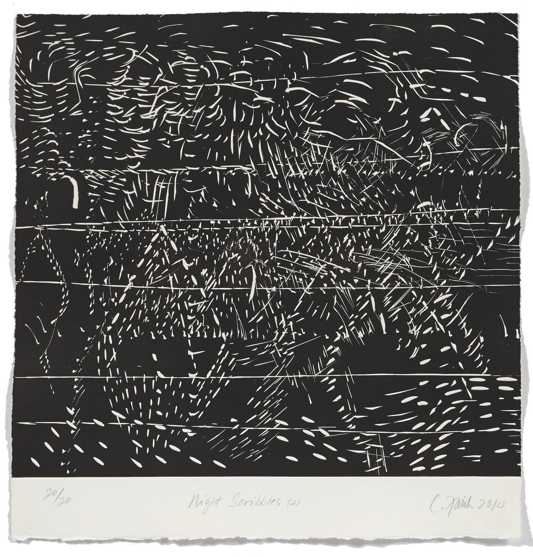 Night scribbles 2    2009 | 55 x 52cm | Roulage | 20 prints | Éditor Atelier-Galerie A. Piroir