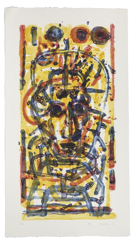 Montreal, self-portrait VII    2011 | 110 x 60cm | Collagraphie | 20 prints | Éditor Atelier-Galerie A. Piroir