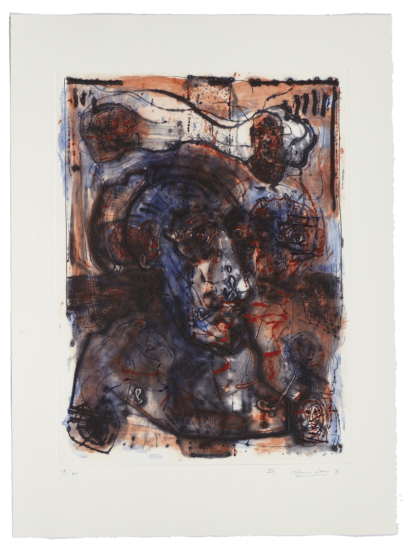 Montreal, self-portrait III    2011 | 65 x 63cm | Collagraphie | 20 exemplaires | Éditeur Atelier-Galerie A. Piroir