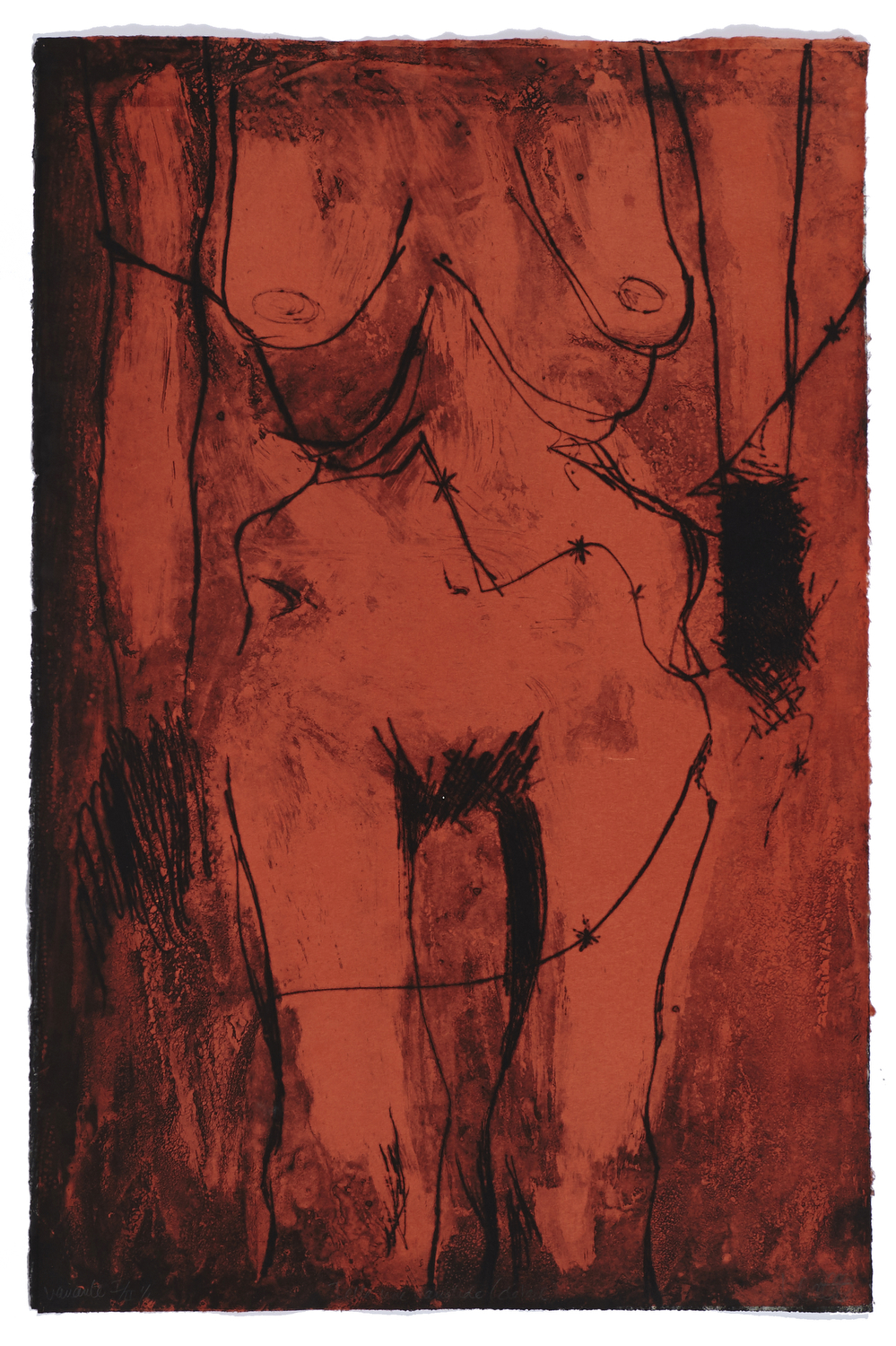 Telle une candide    2006 | 90 x 60 cm | Eau-forte, dry point and chine collé