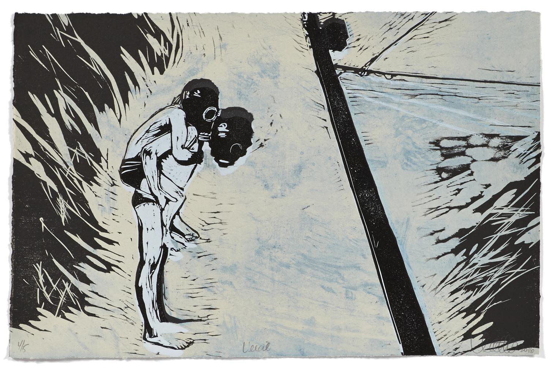 L'exil    2015 | 33 x 51 cm | Serigraphie, woodcut and eau-forte | 5 prints
