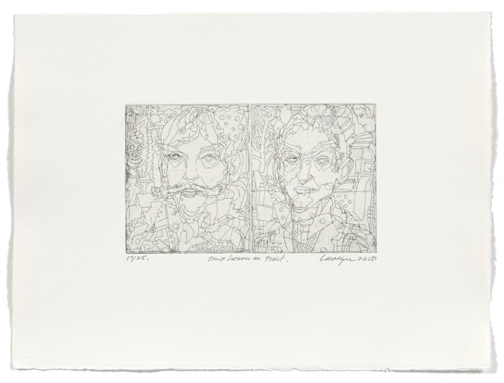 Deux hommes au trait   2010 | 28 x 38cm | Eau-forte | 25 prints | Editor Atelier-Galerie A. Piroir