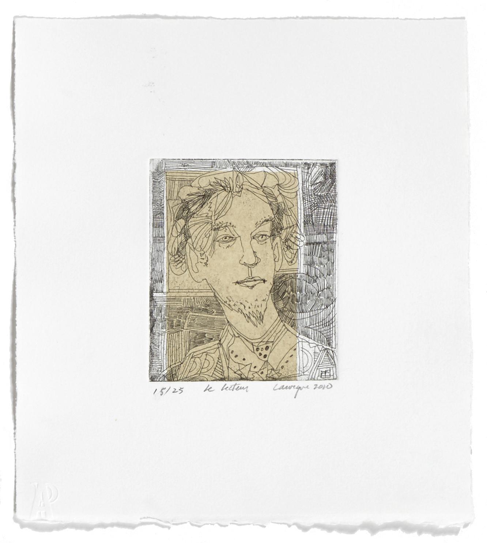 Le lecteur   2010 | 28 x 26cm | Eau-forte and chine collé | 25 prints | Editor Atelier-Galerie A. Piroir