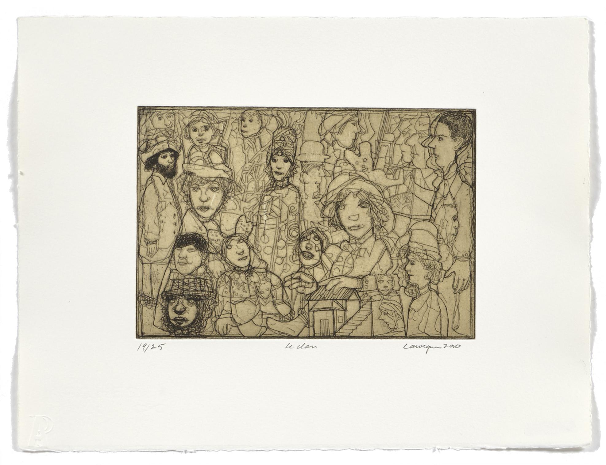 Le clan   2010 | 28 x 38cm | Eau-forte and chine collé | 25 prints | Editor Atelier-Galerie A. Piroir