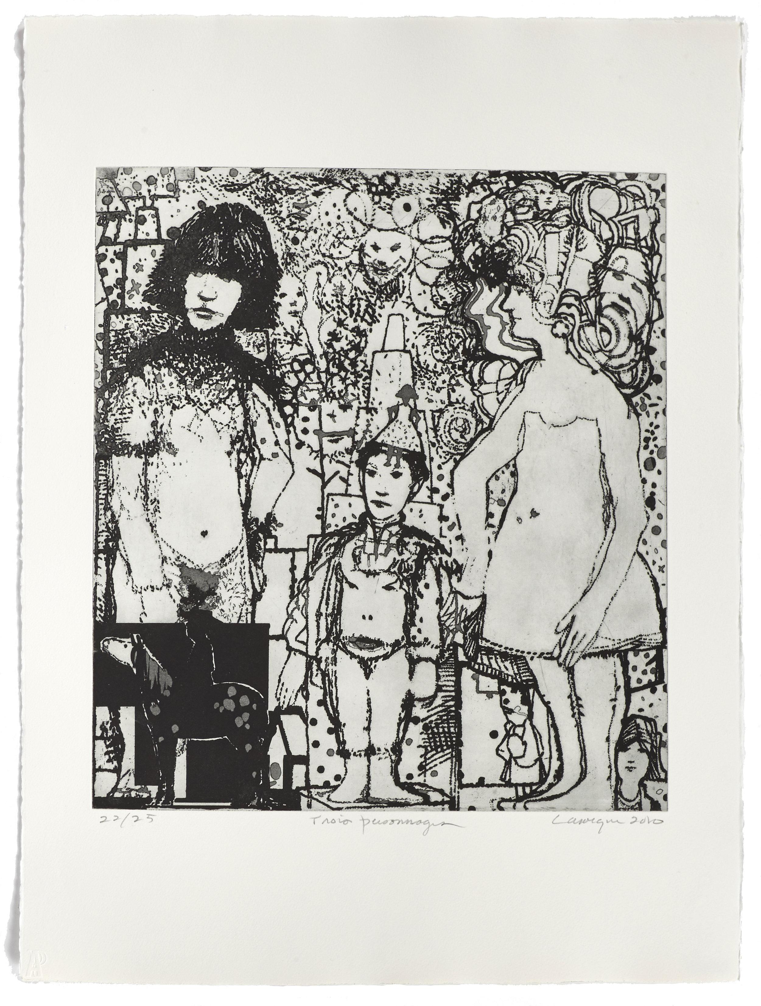 Trois personnages   2010 | 76 x 56cm | Eau-forte | 25 prints | Editor Atelier-Galerie A. Piroir