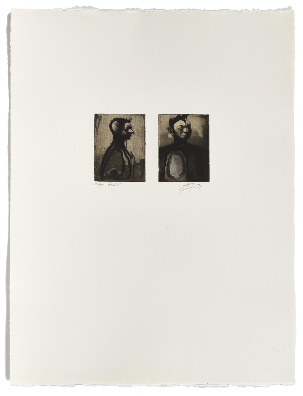 Deux têtes    2001 | 65 x 50 cm | Eau-forte and chine collé | 30 prints